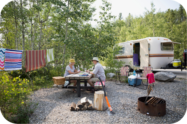 Image of a couple in front of an RV